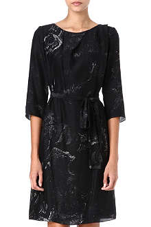 HUGO BOSS Shadow-print silk dress