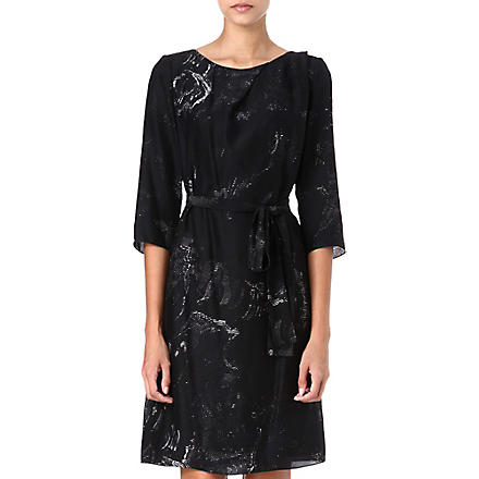 HUGO BOSS Shadow-print silk dress (Black