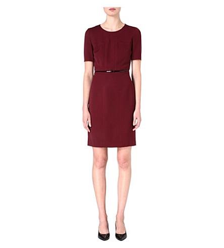 HUGO BOSS Fitted belt dress (Burgundy