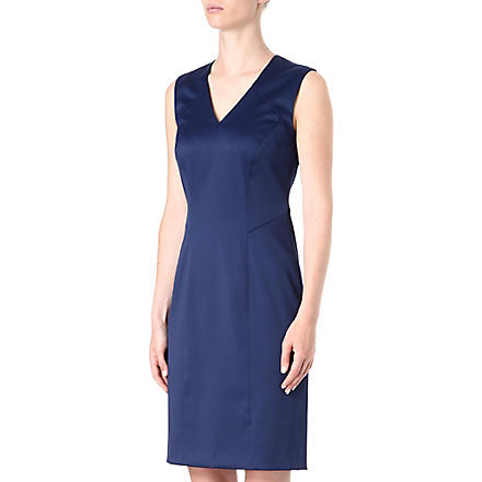 HUGO BOSS Sleeveless fitted satin dress (Blue