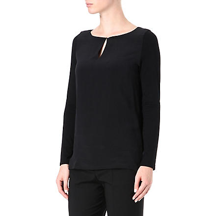 HUGO Long-sleeved jersey keyhole top (Black