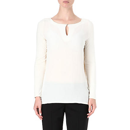 HUGO Long-sleeved jersey keyhole top (Cream