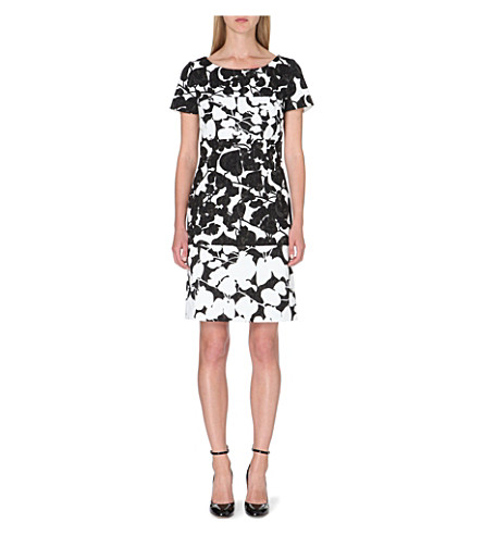HUGO BOSS Devida Floral-print cotton-blend dress (Black/white