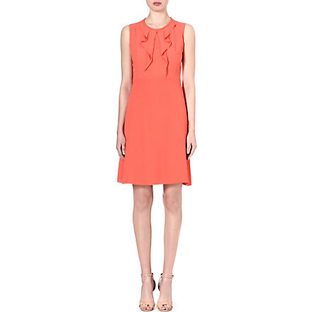 HUGO BOSS Dilenka ruffle-front dress (Coral