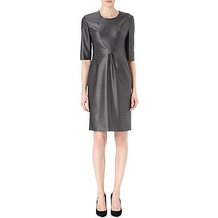 HUGO BOSS Pleated wool-blend dress (Grey