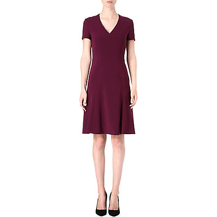 HUGO BOSS Fitted flared crepe dress (Aubergine