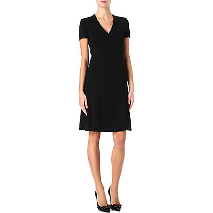 HUGO BOSS Fitted flared crepe dress (Black