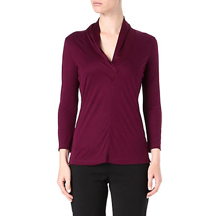 HUGO BOSS V-neck shawl-collar top (Aubergine