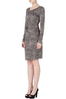 HUGO BOSS Patterned drape-front dress