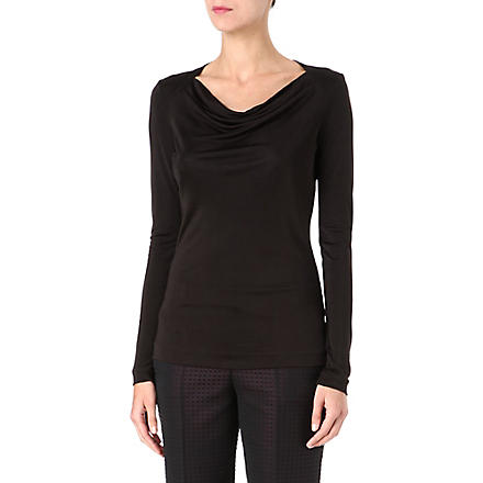 HUGO BOSS Long-sleeved ruched top (Black