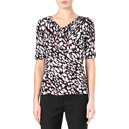 HUGO BOSS Marbled print jersey top (Aubergine