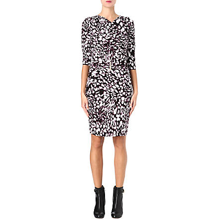 HUGO BOSS Marble-print jersey dress (Aubergine