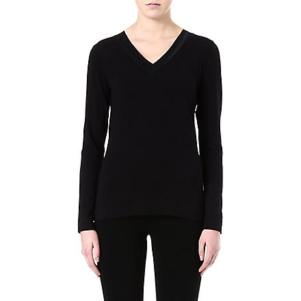 HUGO BOSS V-neck jersey top (Black