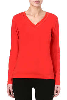 HUGO BOSS V-neck jersey top