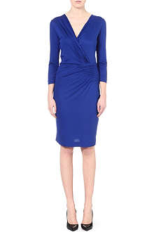 HUGO BOSS Ruched v-neck jersey dress