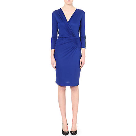 HUGO BOSS Ruched v-neck jersey dress (Blue