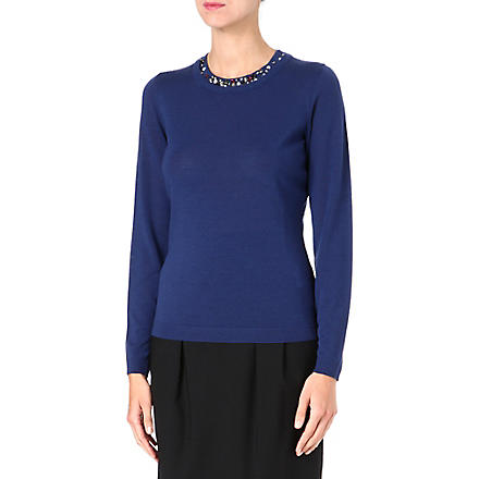 HUGO BOSS Jewelled virgin wool sweater (Blue