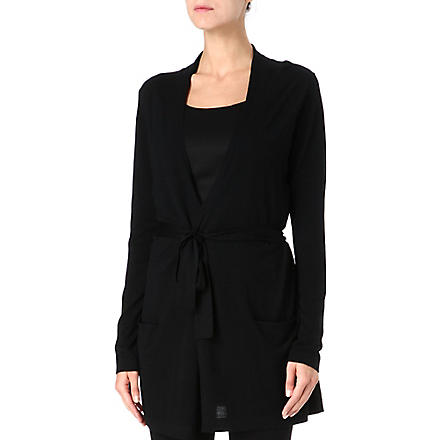 HUGO BOSS Long tie-waist cardigan (Black