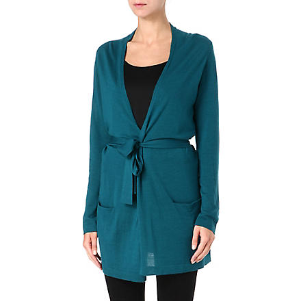 HUGO BOSS Long tie-waist cardigan (Teal