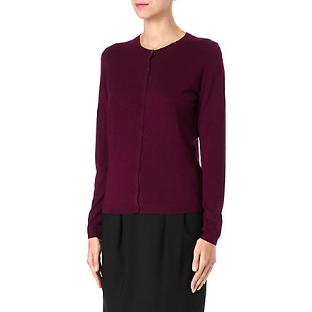 HUGO BOSS Knitted jacquard dot cardigan (Aubergine