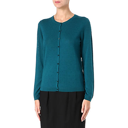 HUGO BOSS Knitted jacquard dot cardigan (Teal