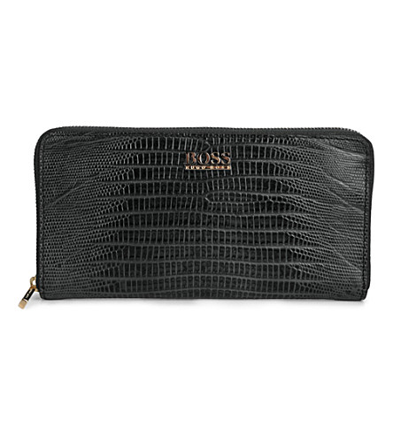 HUGO BOSS Gali snake-embossed leather wallet and keychain set (Black