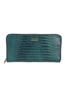 HUGO BOSS Gali snake-embossed leather wallet and keychain set