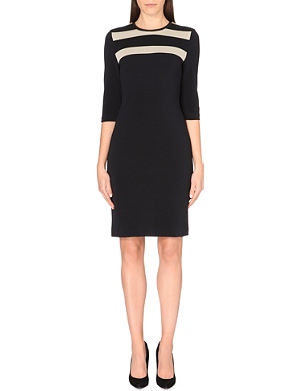 HUGO BOSS Stripe top mid sleeve cotton-blend dress