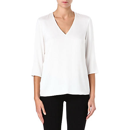 HUGO BOSS V-neck silk-blend top (White