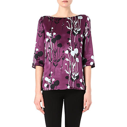 HUGO BOSS Imorany silk top (Aubergine