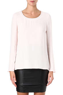 HUGO BOSS Beaded-neckline crepe top