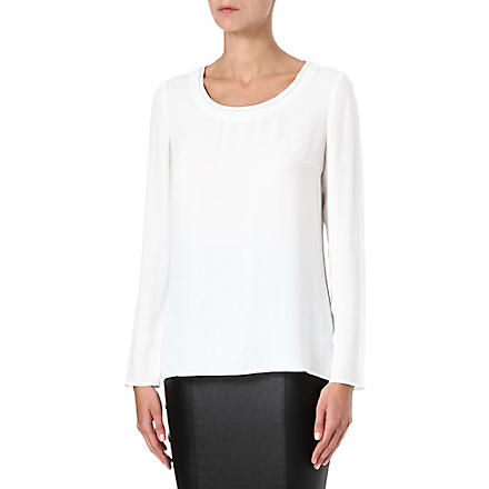 HUGO BOSS Beaded-neckline crepe top (White