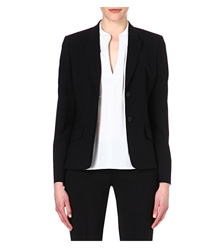 HUGO BOSS Wool-blend single-breasted jacket (Black