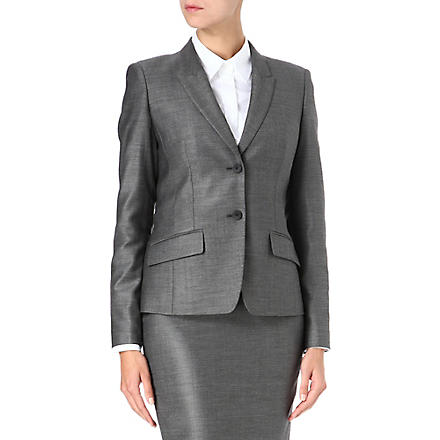 HUGO BOSS Single-breasted pin-dot wool-blend suit jacket (Grey