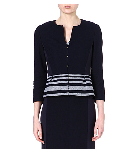 HUGO BOSS Jeisina stripe crop jacket (Navy