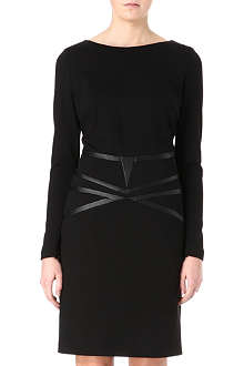HUGO Leather trim stretch-jersey dress