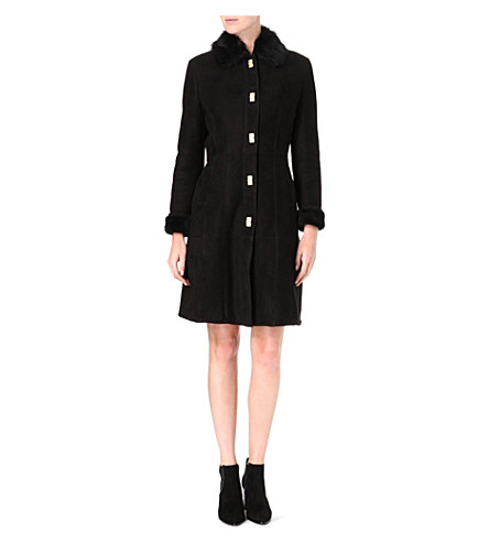 HUGO BOSS Long shearling coat (Black