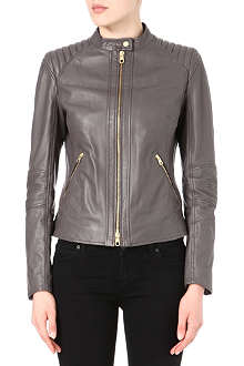 HUGO BOSS Quilted-shoulder leather jacket