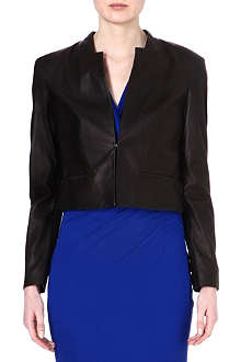 HUGO BOSS Cropped leather jacket