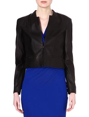 HUGO BOSS Cropped leather jacket