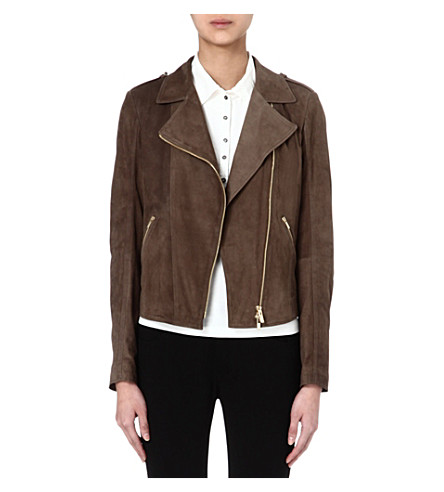 HUGO BOSS Suede biker jacket (Brown