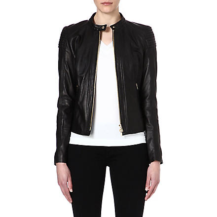 HUGO BOSS Leather biker jacket (Black