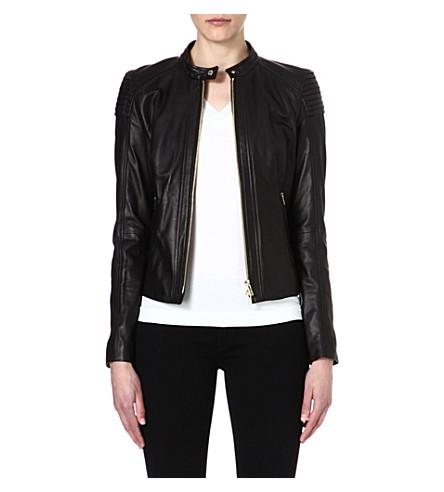 HUGO BOSS Leather biker jacket (Black
