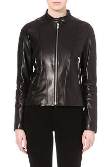 HUGO Quilted leather jacket