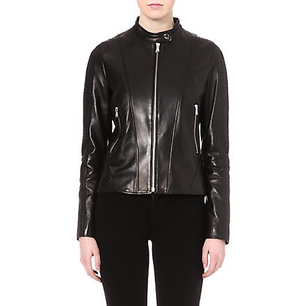 HUGO Quilted leather jacket (Black