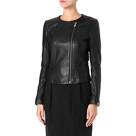 HUGO Libea leather biker jacket (Black