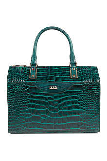 HUGO BOSS Leather croc-embossed bowler bag