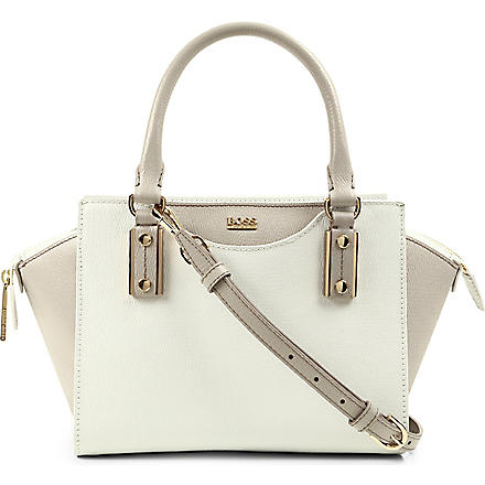HUGO BOSS Maurine trapeze shoulder bag (White/ biege