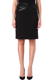 HUGO Faux leather-trim pencil skirt