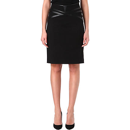 HUGO Faux leather-trim pencil skirt (Black
